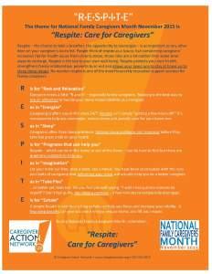 National Family Caregivers Month 2015